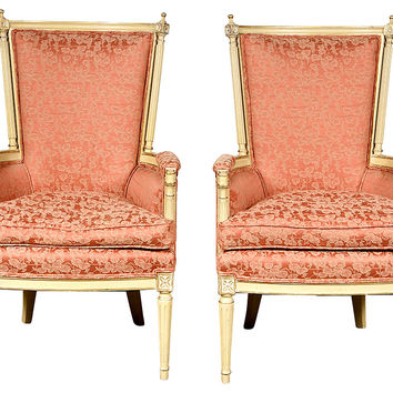 French  Hand-Carved Chairs, Pair