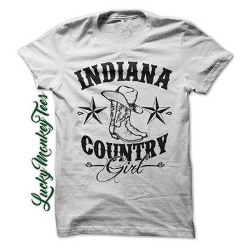 Indiana Country Girl Shirt Redneck Line Dancing Cowboy Boots Womens Ladies Girls T-Shirt Tee Shirt