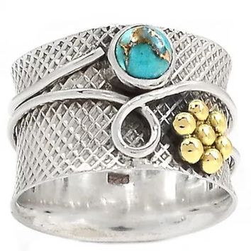 "Turquoise ""Garden"" Two Tone Sterling Silver Band Ring"