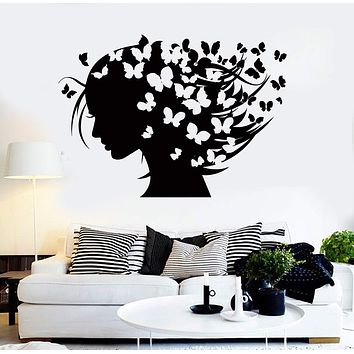 Wall Stickers Vinyl Decal Woman Abstract Hairstyle Butterflies Hair Salon Unique Gift (ig203)
