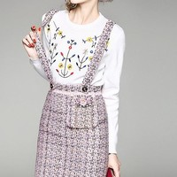 Embroidered Sweater and Overall Dress Set
