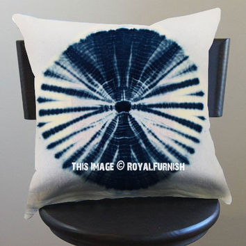 Decorative White Medallion Shibori Throw Pillow Case 16X16 Inch on RoyalFurnish.com