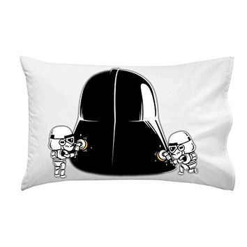 'Polishing' Funny Space Movie Parody Villain Helmet Cleaned by Troops - Pillow Case Single Pillowcase