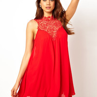 TFNC | TFNC Swing Dress With Lace High Neck at ASOS