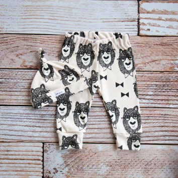 organic baby leggings, baby pants, baby leggings and hat, baby clothes, organic baby, bowtie bears, bear, baby boy, baby girl, baby gift