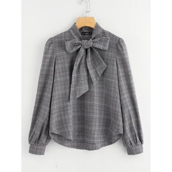 Bow Tie Neck Plaid Blouse