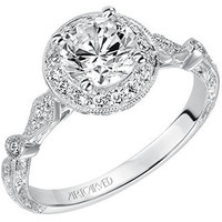 "Artcarved ""Crystal"" Vintage Style Diamond Halo Engagement Ring"