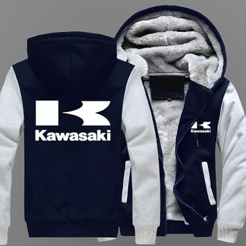 Winter Coat Kawasaki Moto Logo Men's Casual Thick Warm Hoodies Men's Cotton Jacket Casual Motorcycle Racing Sweatshirts