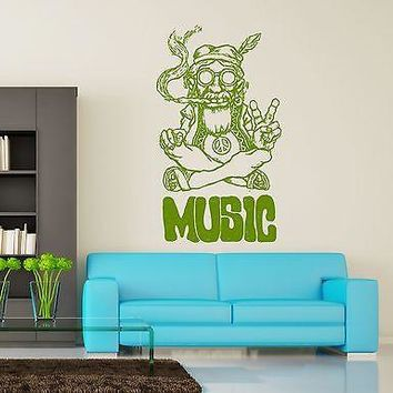 Wall Vinyl Hippie Music Marihuana Weed Smoking USA Flag Unique Gift (z3400)
