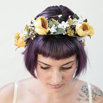 Vintage Rose Bridal Flower Crown - Yellow, Floral Crown, Yellow Rose, Bridal Flower Headpiece, Circlet, Fall Weddings, Rose Crown, Boho