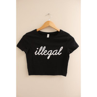 Illegal Graphic Black Crop Top