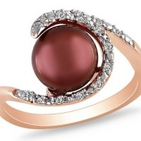 8-8.5mm Cultured Chocolate freshwater Pearl & 1/10 Carat Diamond Sterling Silver Ring with Pink Rhodium