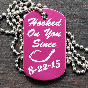 """""""Hooked on You"""" Dog Tag Necklace"""