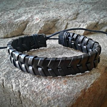 Black Leather Adjustable Unisex Leather Weave Wrap Bracelets
