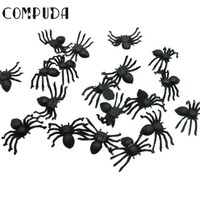 DCCKF4S Compuda 20Pcs Plastic Black Spider Halloween Decoration Festival Supplies Funning Toys Decoration Realistic Prop 2016 Gift Drop