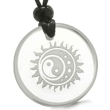 Amulet Sun Moon Stars Triple Magic Balance Yin Yang Powers Quartz Medallion Necklace