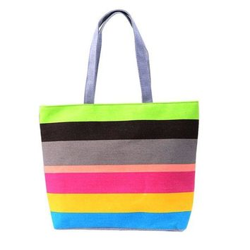 ac NOVQ2A Handbags Casual Tote Fresh japan Canvas bags Wristlets Striped Zipper Versatile Designer Bag sacoche homme