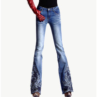 newSpring Luxury Beading Embroidered Mid Waist Big Flared Jeans Female Boot Cut Embroidery Lace Bell Bottom Jeans Denim Trousers