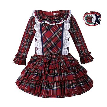 Pettigirl England Style Girl Christmas Dress Grid Princess Layered Dress Boutique Spring/Autumn Girls Clothing G-DMGD007-A119