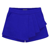 Royal Blue Asymmetric Peplum Shorts