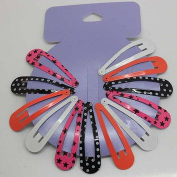 12pcs/lot children printing dot bobby pin headwear girls metal hair snap clip Five-pointed stars hairpins hair accessories