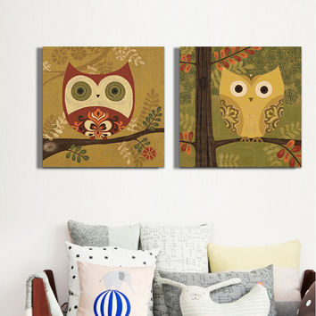 Owl Oil Printed Paintings On Canvas Cute Animal Wall Art Picture For Living Room