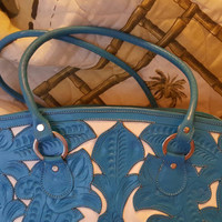 Alejandro Gabrielli Aqua Blue Purse, Italy, Genuine Pressed Leather Purse, Aqua Blue Embossed Leather Handbag, Carved Italian Leather