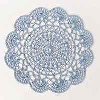 Light blue crochet doily, hand crocheted lace doilies, cotton placemats, round table cloth, table centerpiece, home decor, table decoration