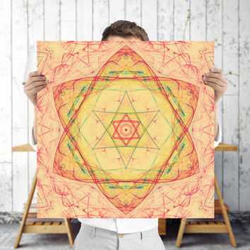 Star of David Mandala Art Print - Sacred Geometry Wall Art - Gold Fractal Art, Digital Download | Meditation Wall Decor by Mila Tovar