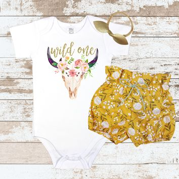 Gold Wild One Yellow Floral Bloomers Outfit