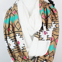 tribal long infinity scarf, scarf, scarves,loop scarf, gift