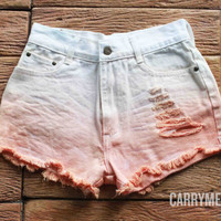 Orange Tie dye Shorts Denim Tye Dye High Waisted Jean Pastel Rainbow Colorful Shorts