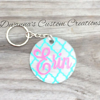 Quarterfoil Circle Key Chain and Name