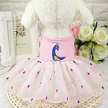 Ennc Pet Apparel Dog Princess Tutu Dress Cat Skirt Vest Clothes Cute Summer Elegant Peacock pattern Lace Skirts Yarn Party Dress for Puppy Small Dogs Cats
