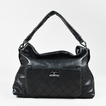 "Chanel Black Lambskin Leather Reissue ""8 Knots"" Hobo Bag"