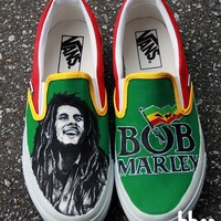 Hand Painted Bob Marley Shoes 7 by BBEE on Etsy