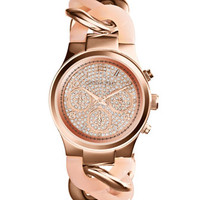 Michael Kors Mini Rose Golden Stainless Steel Runway Glitz Twist Watch