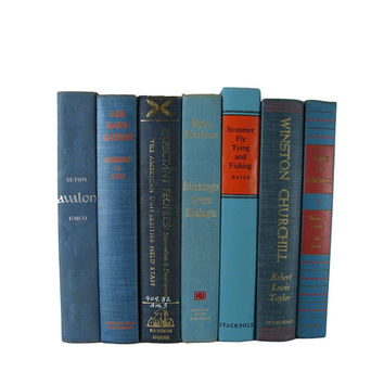 Blue Vintage Decorative Book Set for Book Home Decor , Gift for  Book Lover ,  Wedding Decor and Photo Prop