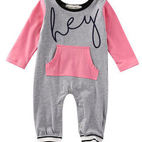 Newborn Baby Girl Boy Pocket Pink Long Sleeve Romper Jumpsuit Outfits Sunsuit Clothes