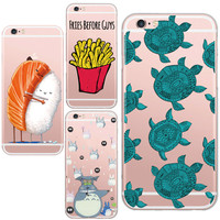 Soft TPU Transparent Cell Phone Painted Cute Sea Turtle Galesaur Pattern Design Gel Case Cover For Apple iphone 5 5s / 6 6s