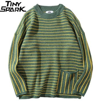 Hip Hop Knitted Striped Sweater Mens Streetwear Vintage Green Pullover Sweater Fashion Autumn 2018 Casual Cotton Sweater Hipster
