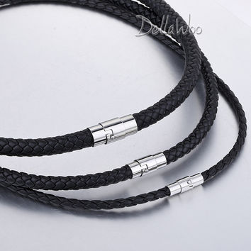 Gift 4/6/8mm Men Chain Women Black Braided Cord Rope Man-made Leather Necklace Stainless Steel Clasp Jewelry 14-40inch DUNM09