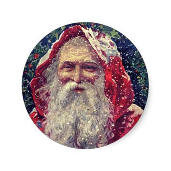 Vintage Santa in the Snow Christmas Sticker