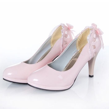 Women High heels Lace Bow Bridal Wedding Shoes Wedges Ladies Pumps