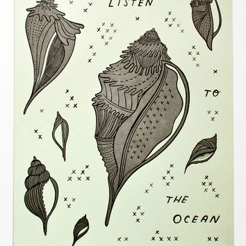 Listen to the Ocean - Beach house poster letterpress print