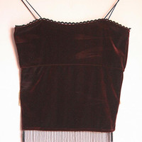 60s Boho Hippie Secondhand Vintage Velvet burgundy fringe top