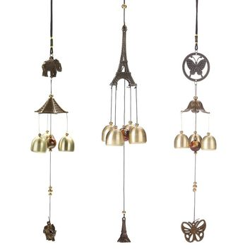 Hanging Wind Chime Bell Chinese Oriental Lucky Metal Pagoda Feng Shui Brass Buddha Elephant Spitor Fortune Lijiang Style 3 Bells