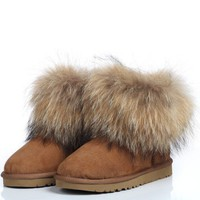High Quality Genuine Suede Fur Anti-Slip Bottom Big Fluffy Fur Top Ankle Boots