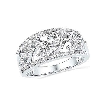 10kt White Gold Women's Round Diamond Filigree Band Ring 1/3 Cttw - FREE Shipping (US/CAN)
