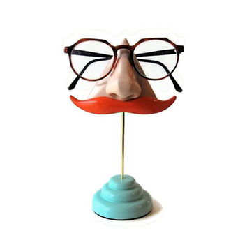 Nose Eyeglass Stand Ginger Mustache Key Hook by ArtAkimbo on Etsy
